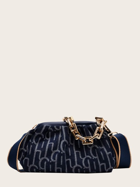 Ruched Chain Handle Satchel Bag