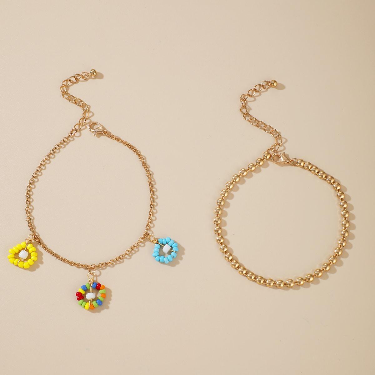 SHEIN / 2 Stücke Fußkette mit Perlen Anhänger