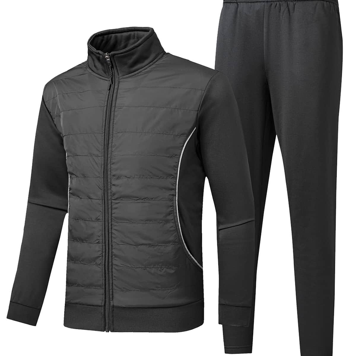Мужская утепленная куртка на молнии и спортивные