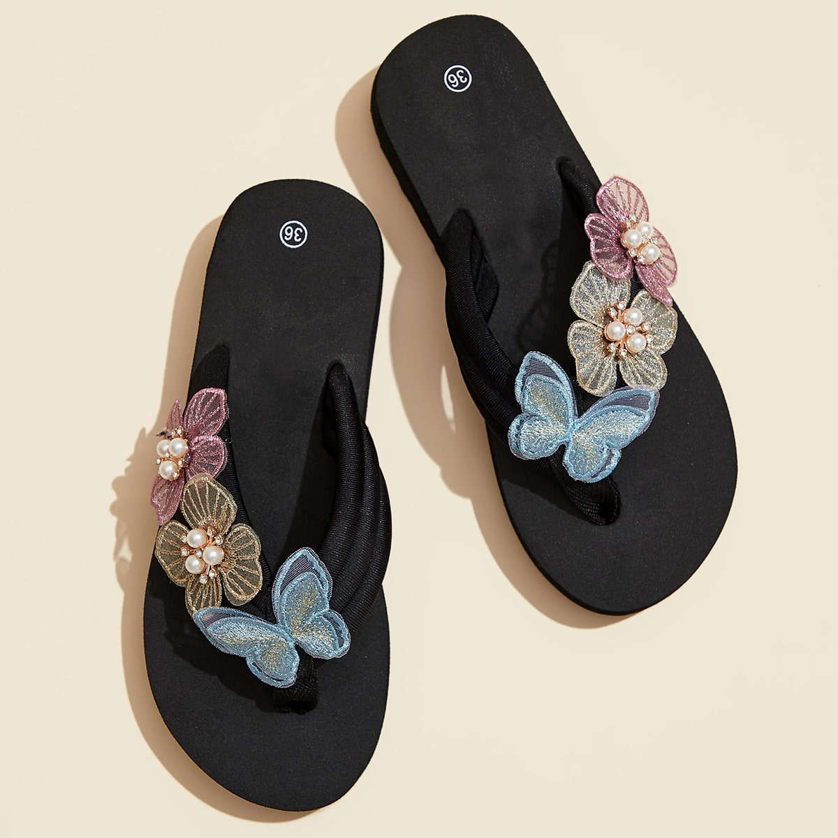 SHEIN / Faux Pearl Decor Butterfly Decor Flip Flops