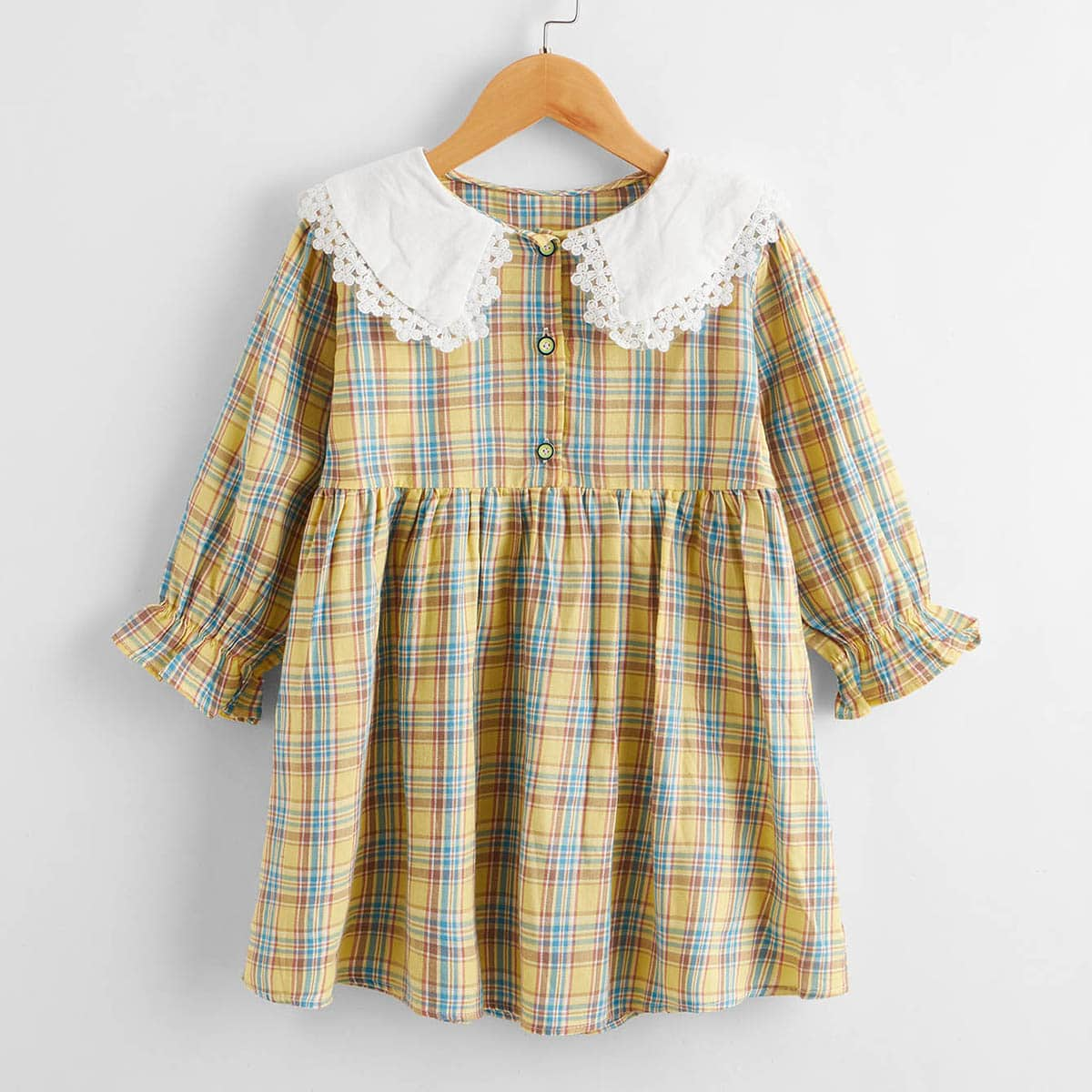 Toddler Girls Tartan Plaid Contrast Collar Smock Dress
