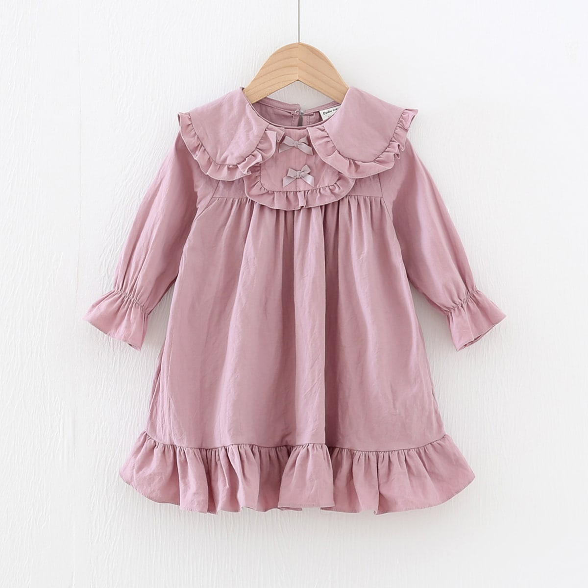 Toddler Girls Frill Bow Front Smock Dress