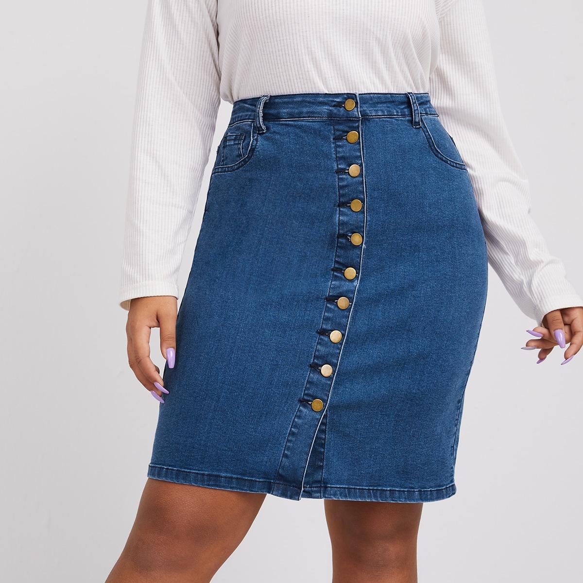 Джинсовая юбка размера плюс с пуговицами