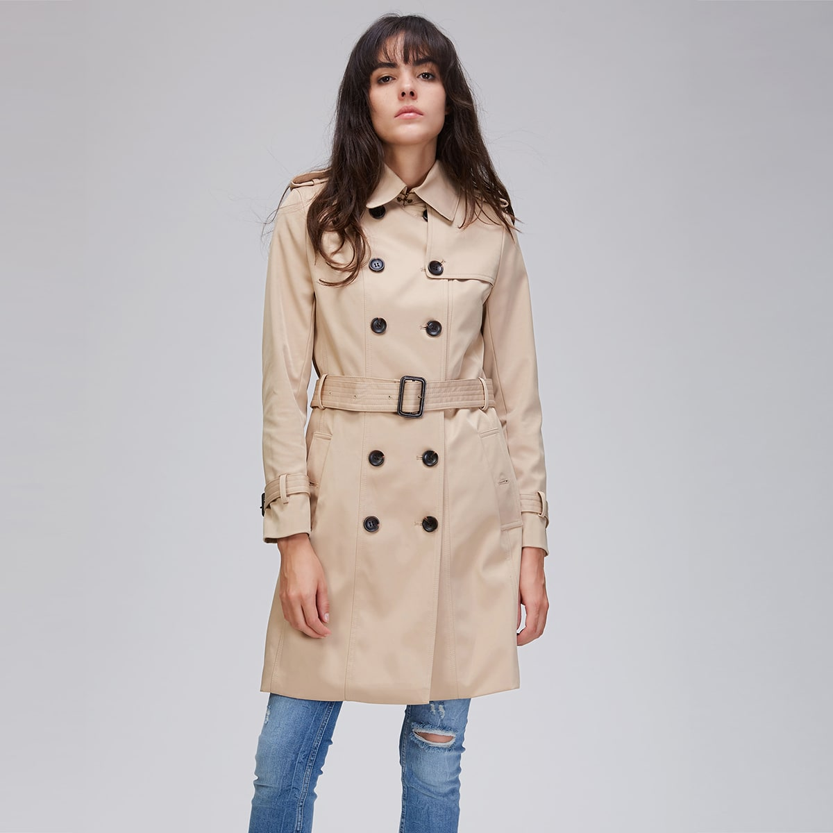 Jazzevar Double Button Buckle Belted Trench Coat
