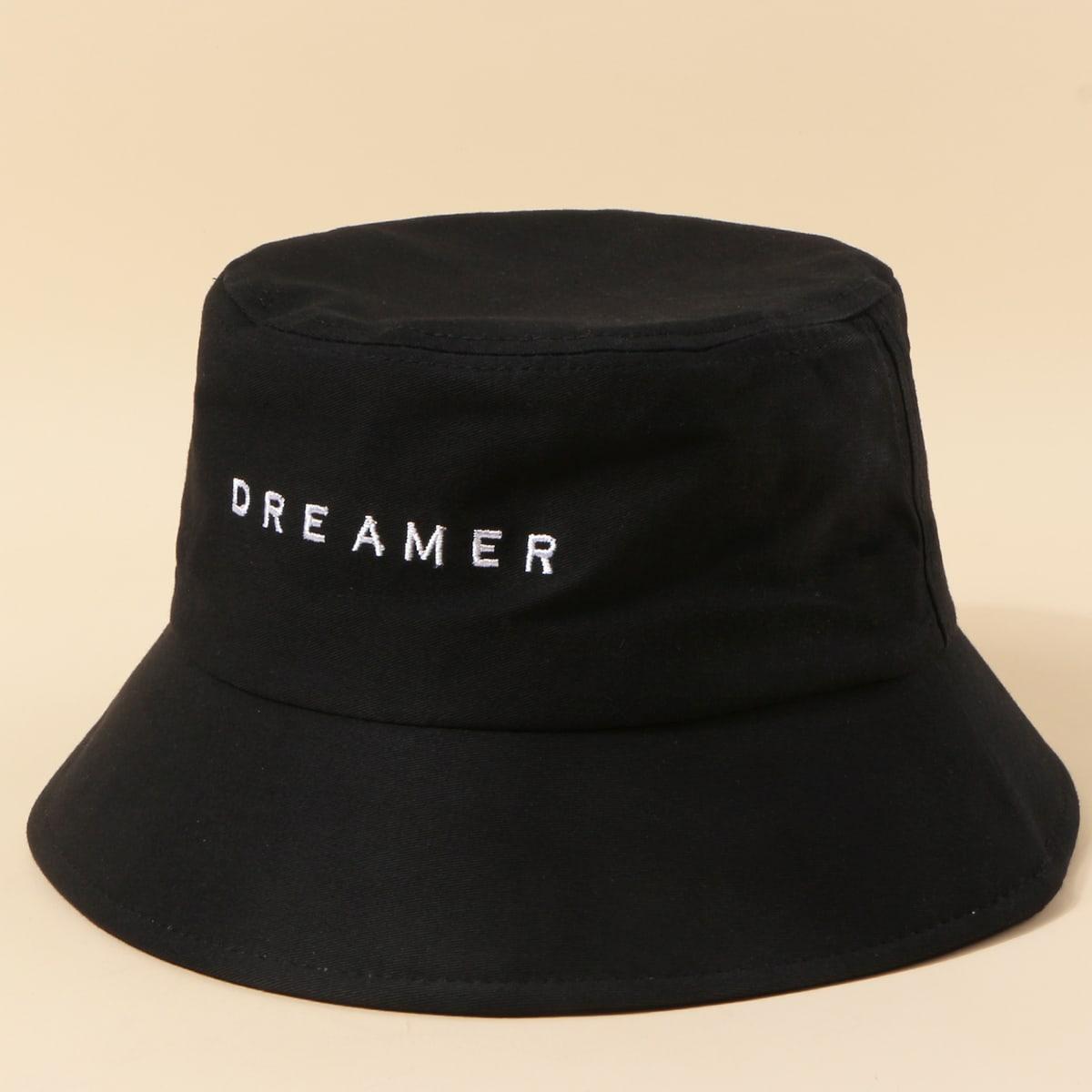 Мужская шляпа с текстовой вышивкой от SHEIN