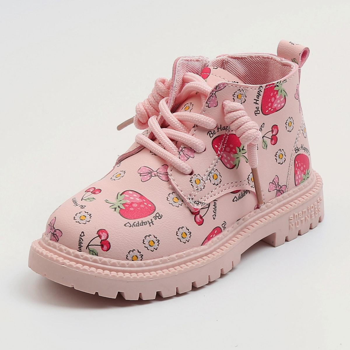 SHEIN / Kleinkind Mädchen Stiefel mit Band vorn und Obst Grafik