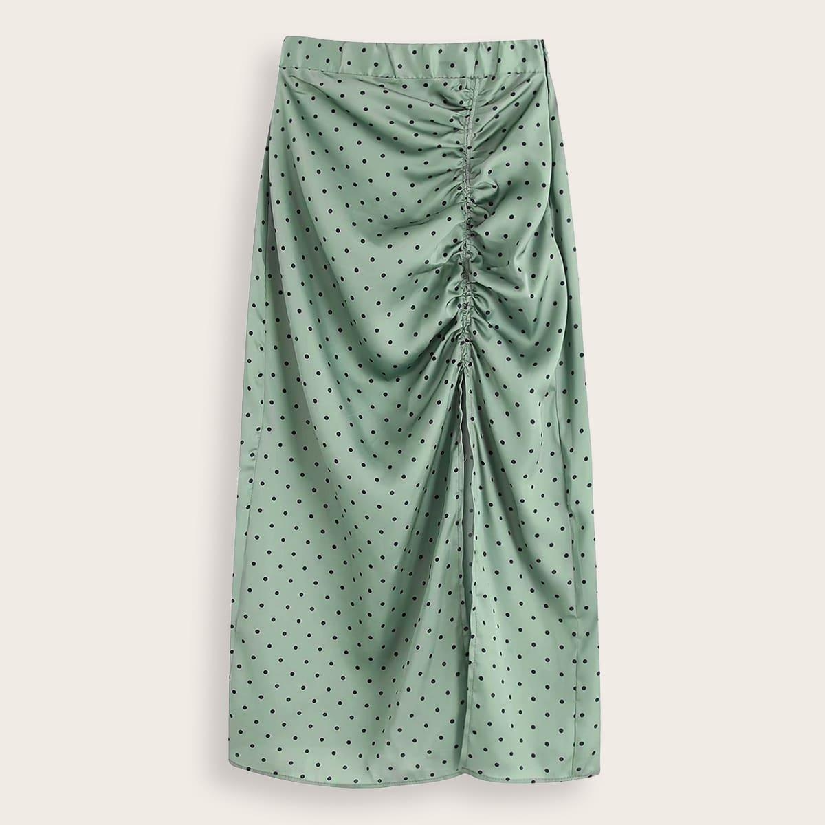 Мятно-зеленый с рюшами В горошек Элегантный Юбки размер плюс фото