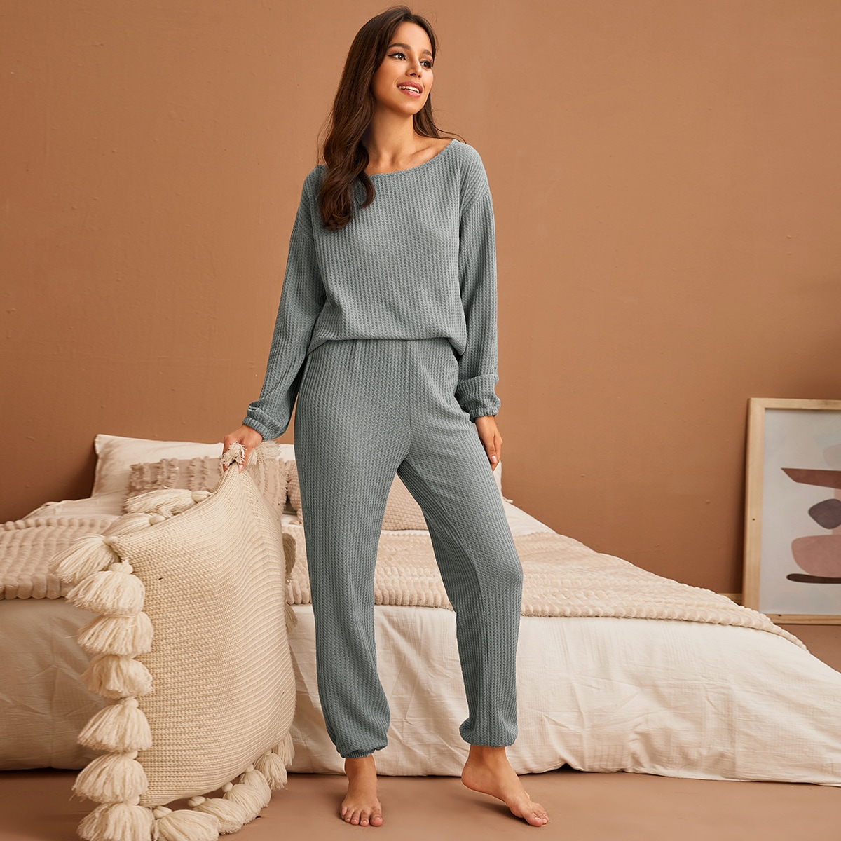 SHEIN / Waffelstrick Schlafanzug Set mit sehr tief angesetzter Schuterpartie