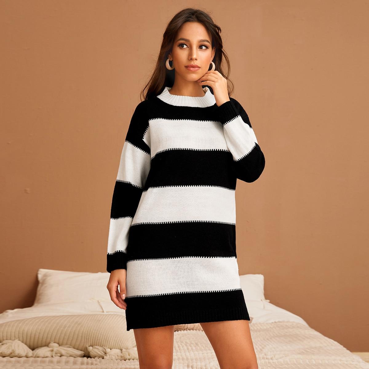 shein Casual Kleurblok Gebreide jurk