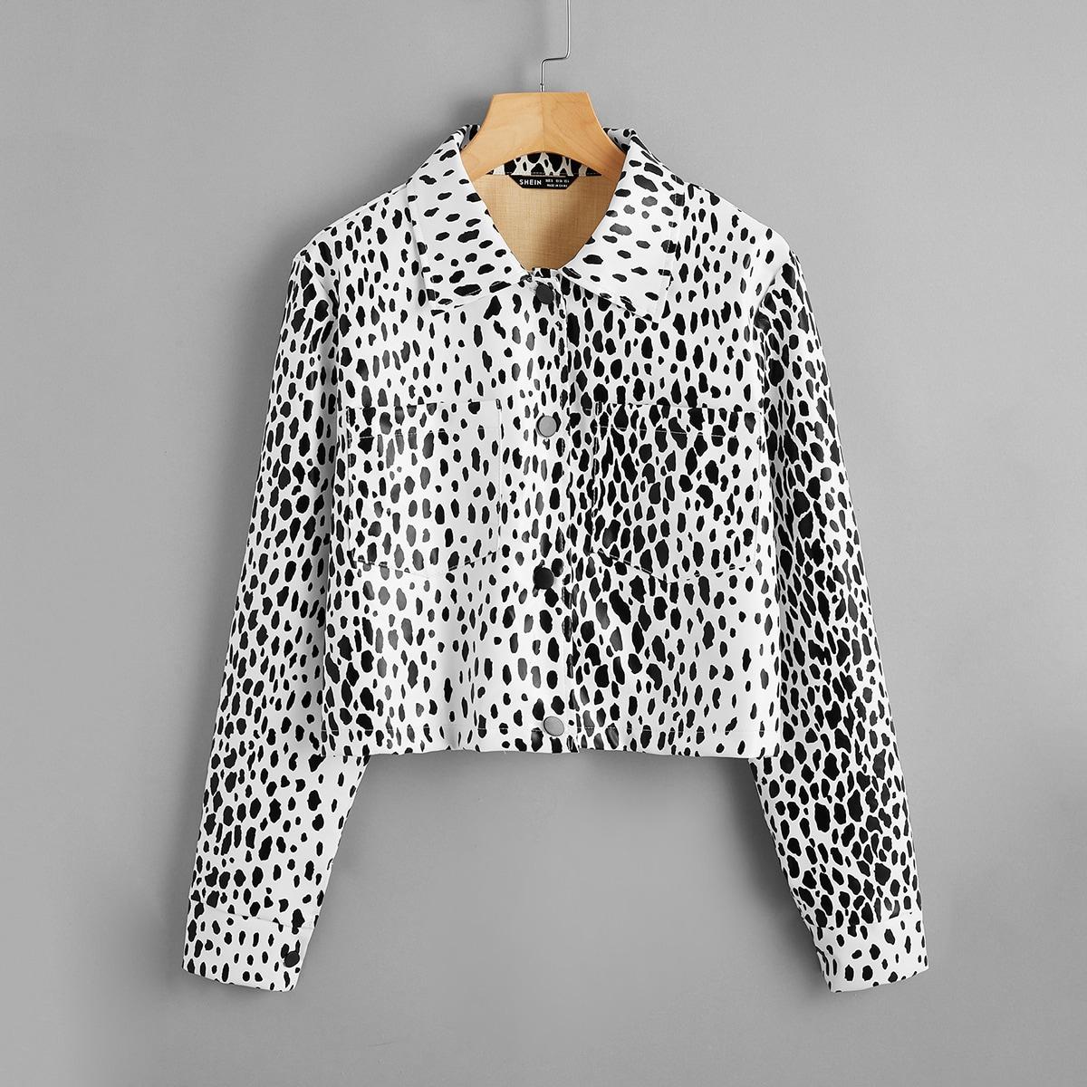 Куртка из искусственной кожи с карманом и далматинским принтом