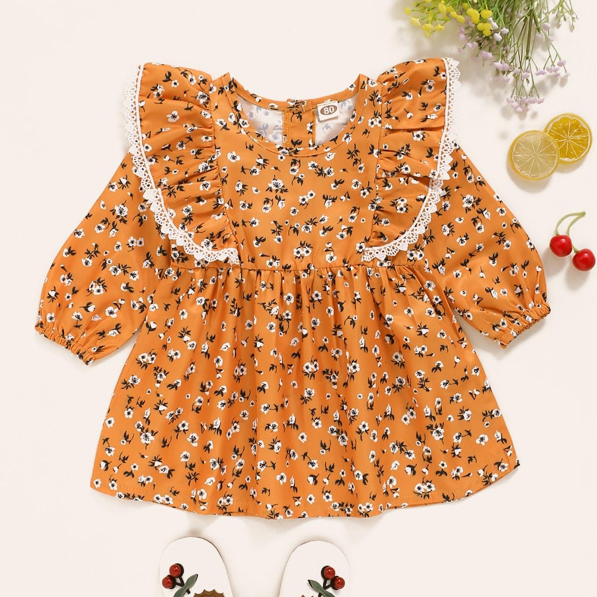 shein Schattig Vrolijke Bloemetjes Baby-jurk Knoop