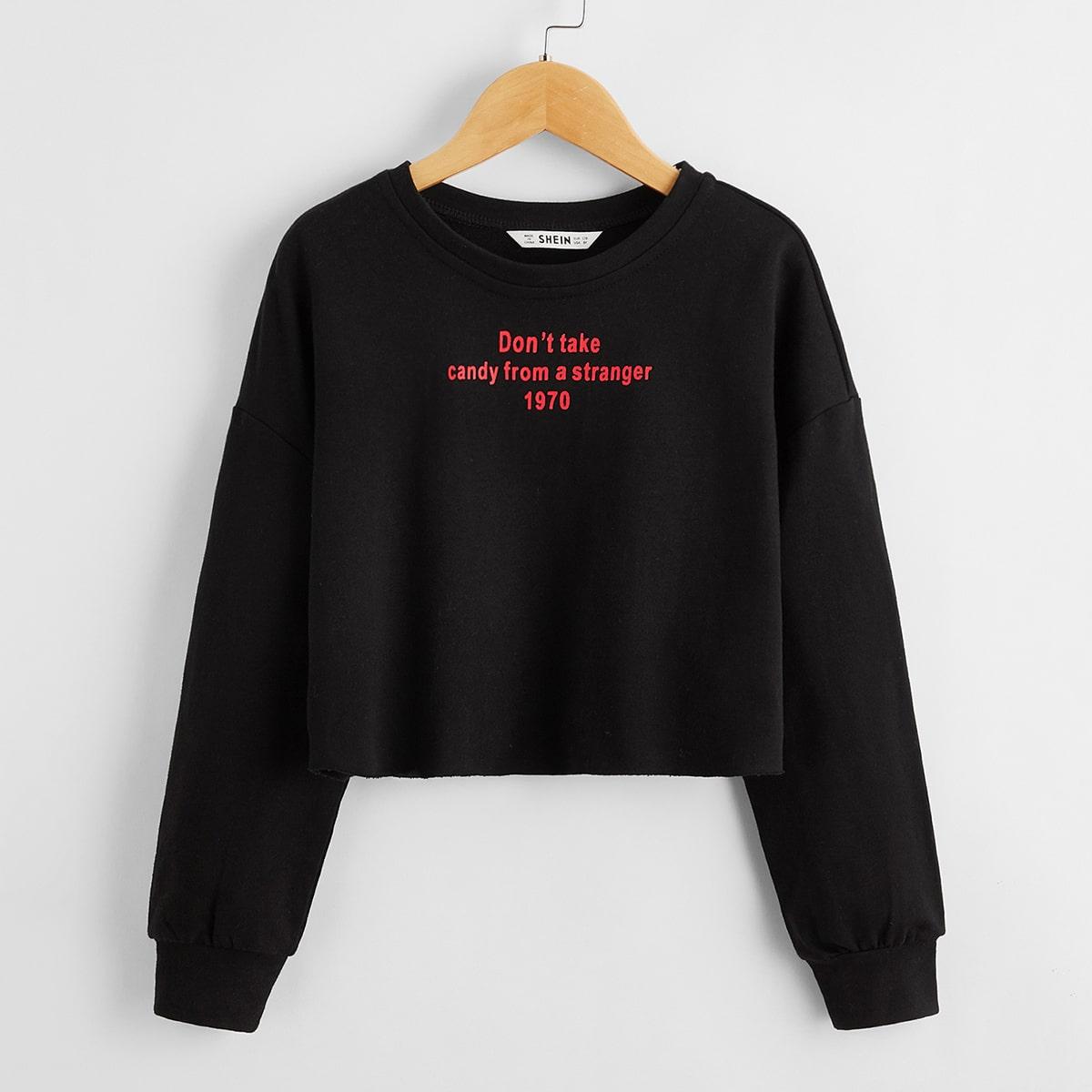 Пуловер с текстовым принтом для девочек от SHEIN