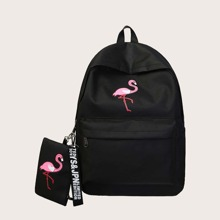 Girls Flamingo Pattern Backpack With Purse (skbag18200814334) photo