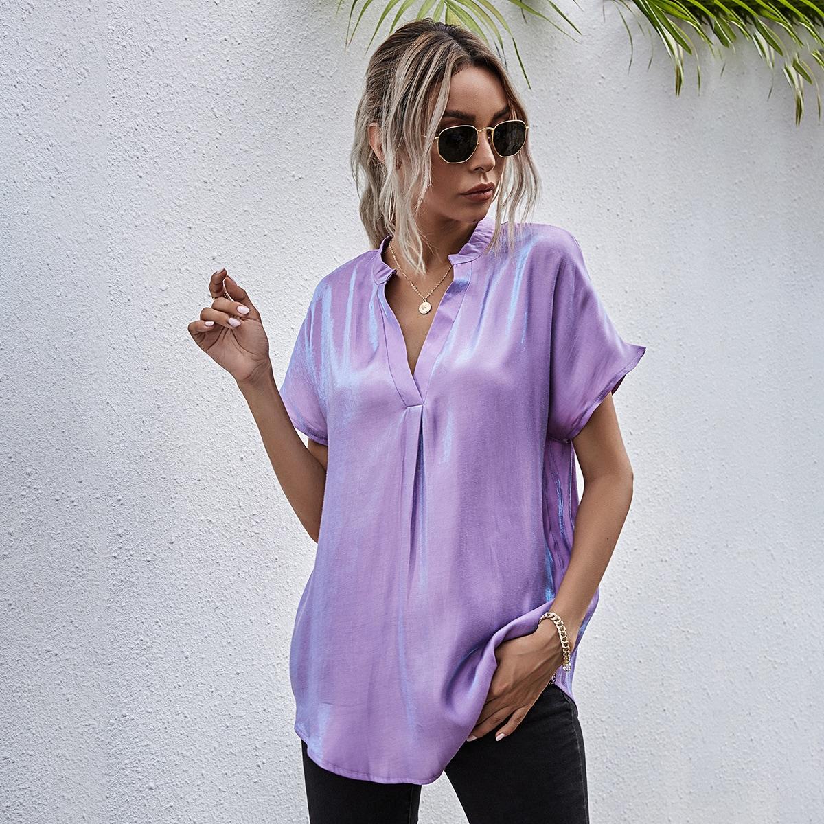 SHEIN / Camisa túnica de color metálico de cuello V