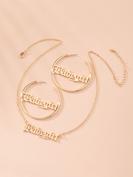 1pc Letter Decor Necklace & 1pair Earrings