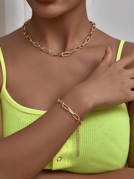 1pc Simple Necklace & 1pc Bracelet