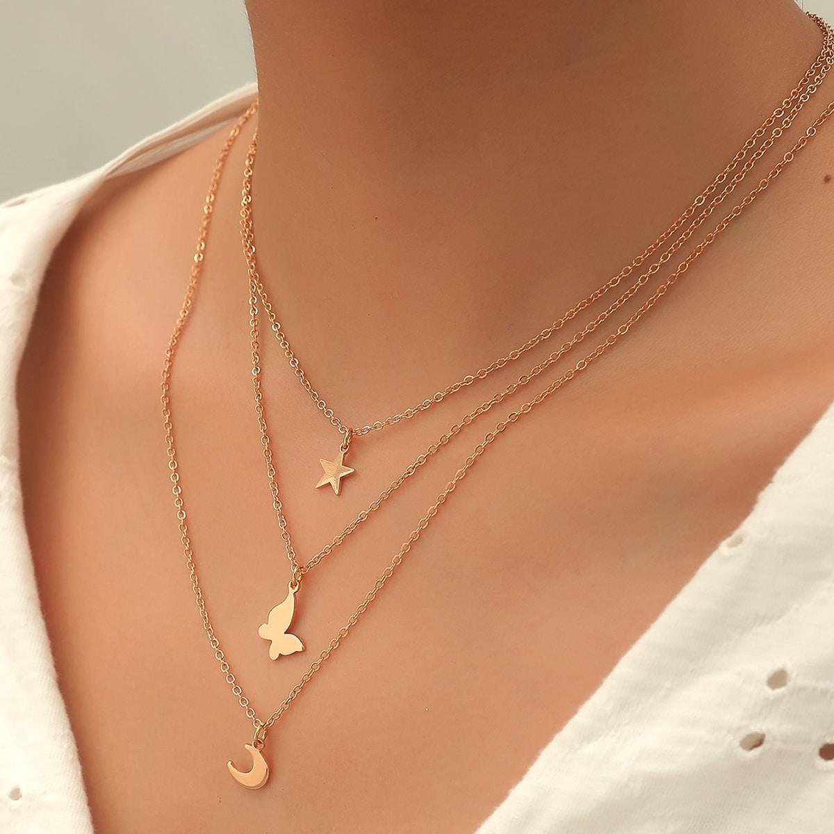 SHEIN / 3 Stücke Halskette mit Stern & Schmetterling Anhänger