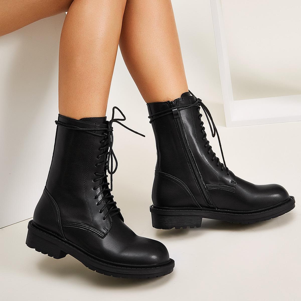 SHEIN / Minimalistischer Stiefel mit Band vorn und seitlichem Reißverschluss
