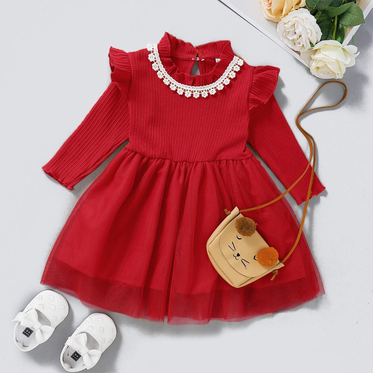 Расклешенное платье с кружевной отделкой для девочек от SHEIN