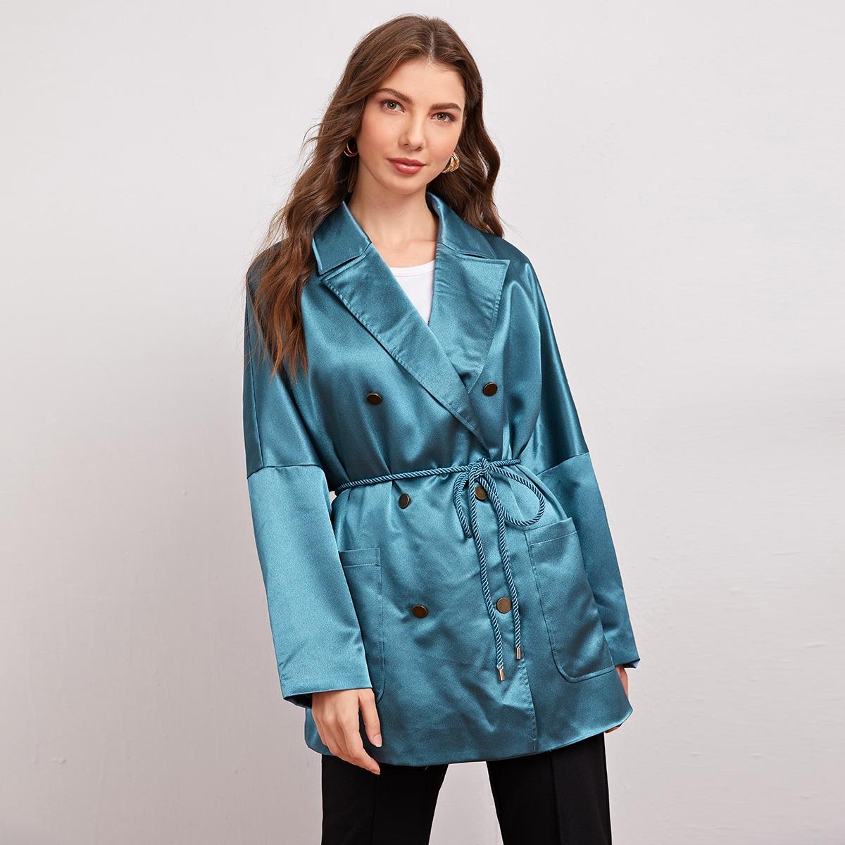 Пиджак с поясом и карманом от SHEIN