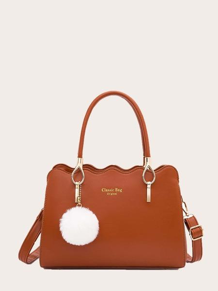 Pom Pom Decor Letter Graphic Shoulder Bag