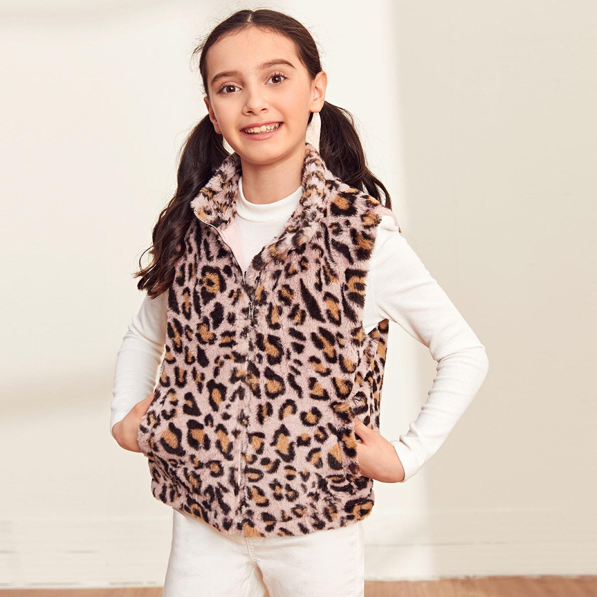 Плюшевый жилет на молнии с леопардовым принтом для девочек от SHEIN