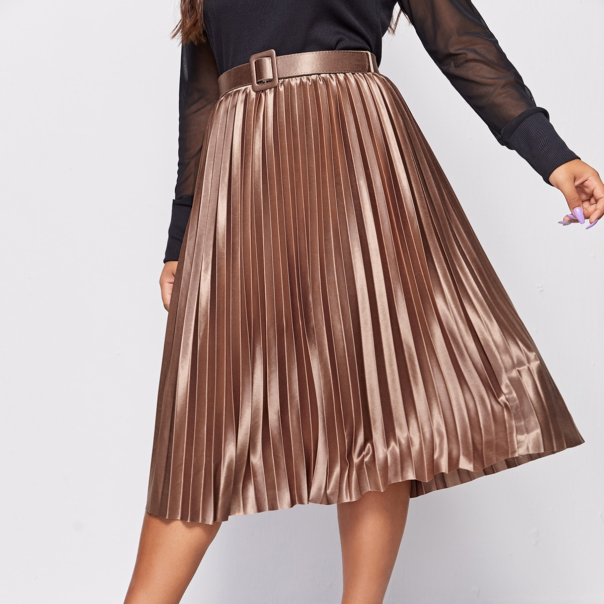 SHEIN / Plus Pleated Belted Midi Skirt