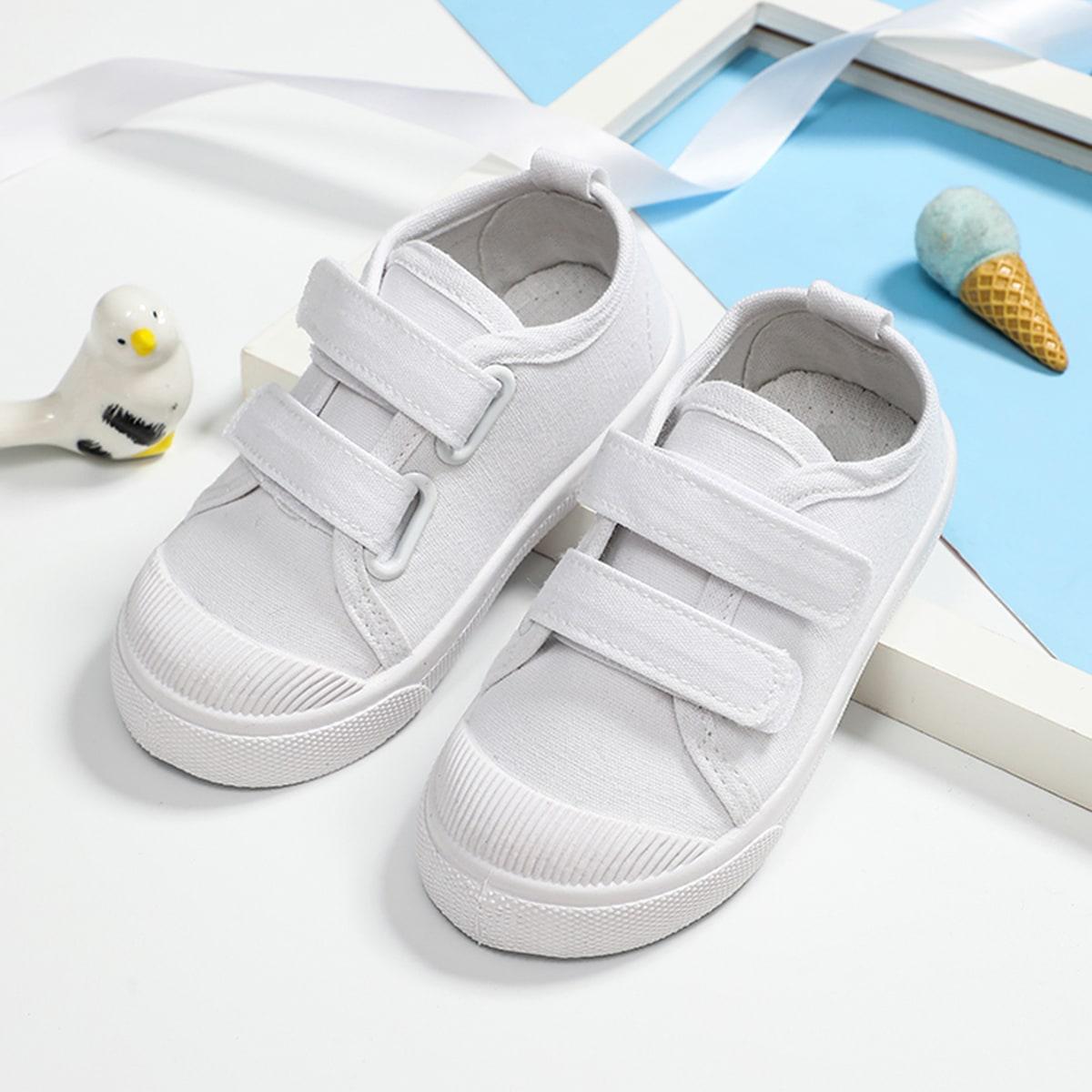 Холщовые туфли на липучках для девочек от SHEIN