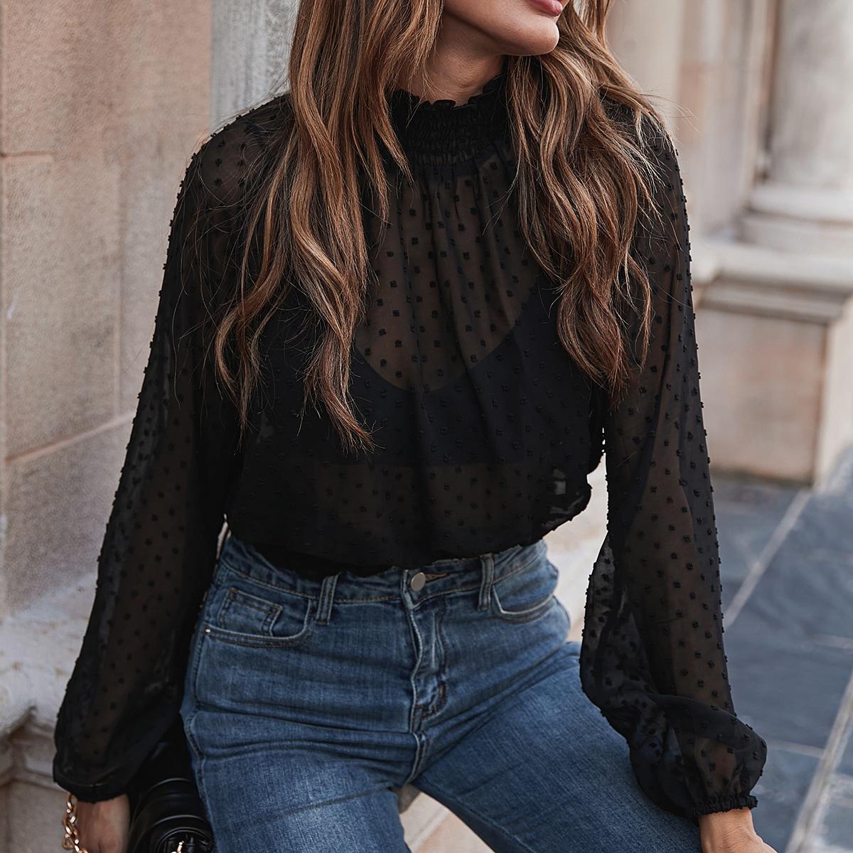 SHEIN / Bluse mit Rüsche am Kragen, Punkten Muster ohne BH