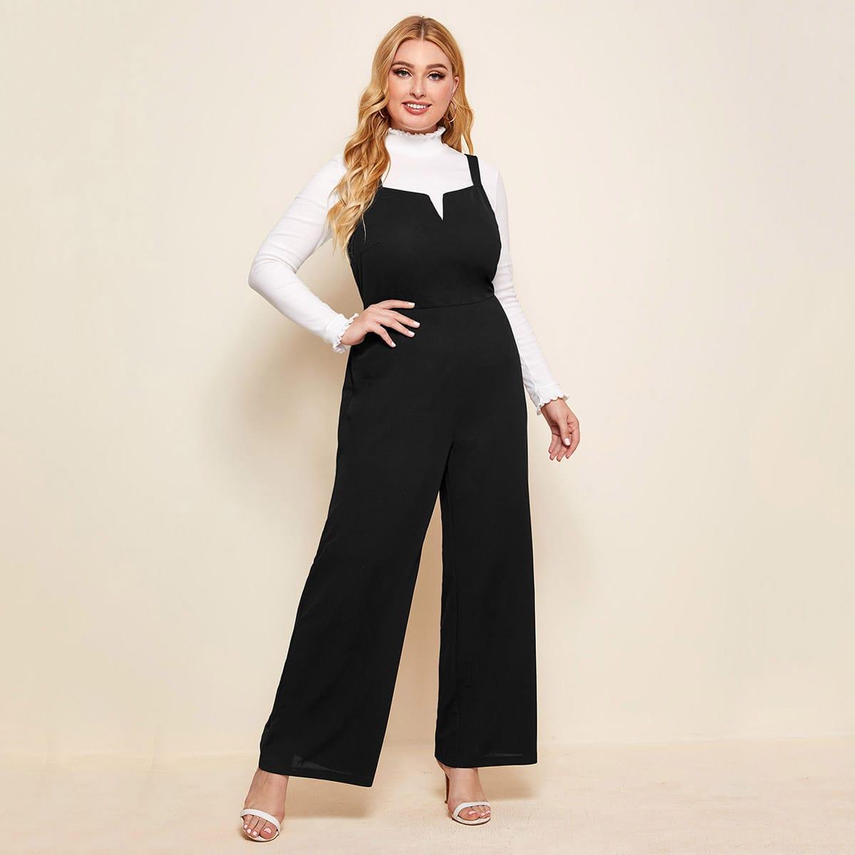 SHEIN / Overall Jumpsuit mit hoher Taille und breitem Beinschnitt