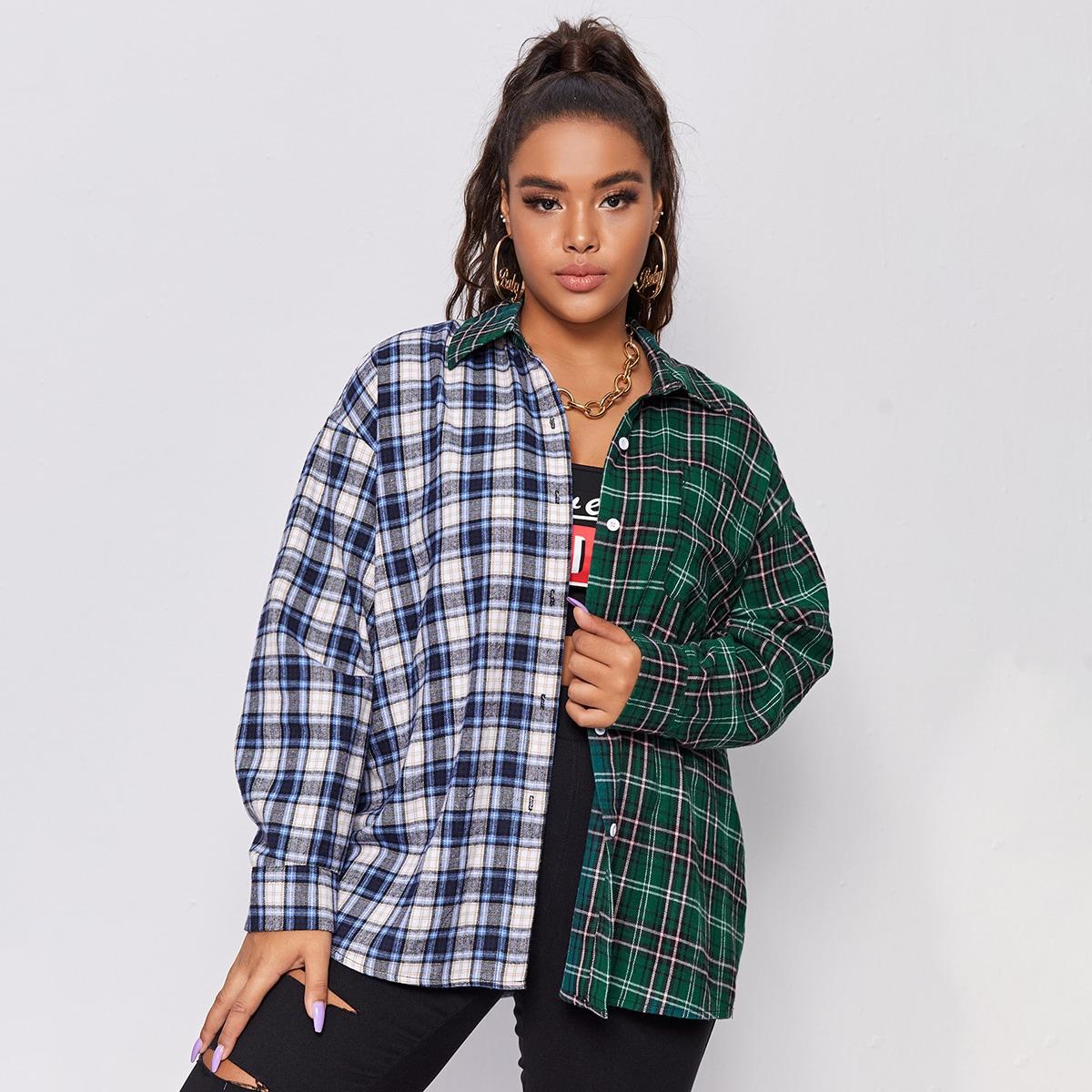 SHEIN / Gespleißte Bluse mit Karo Muster und sehr tief angesetzter Schulterpartie