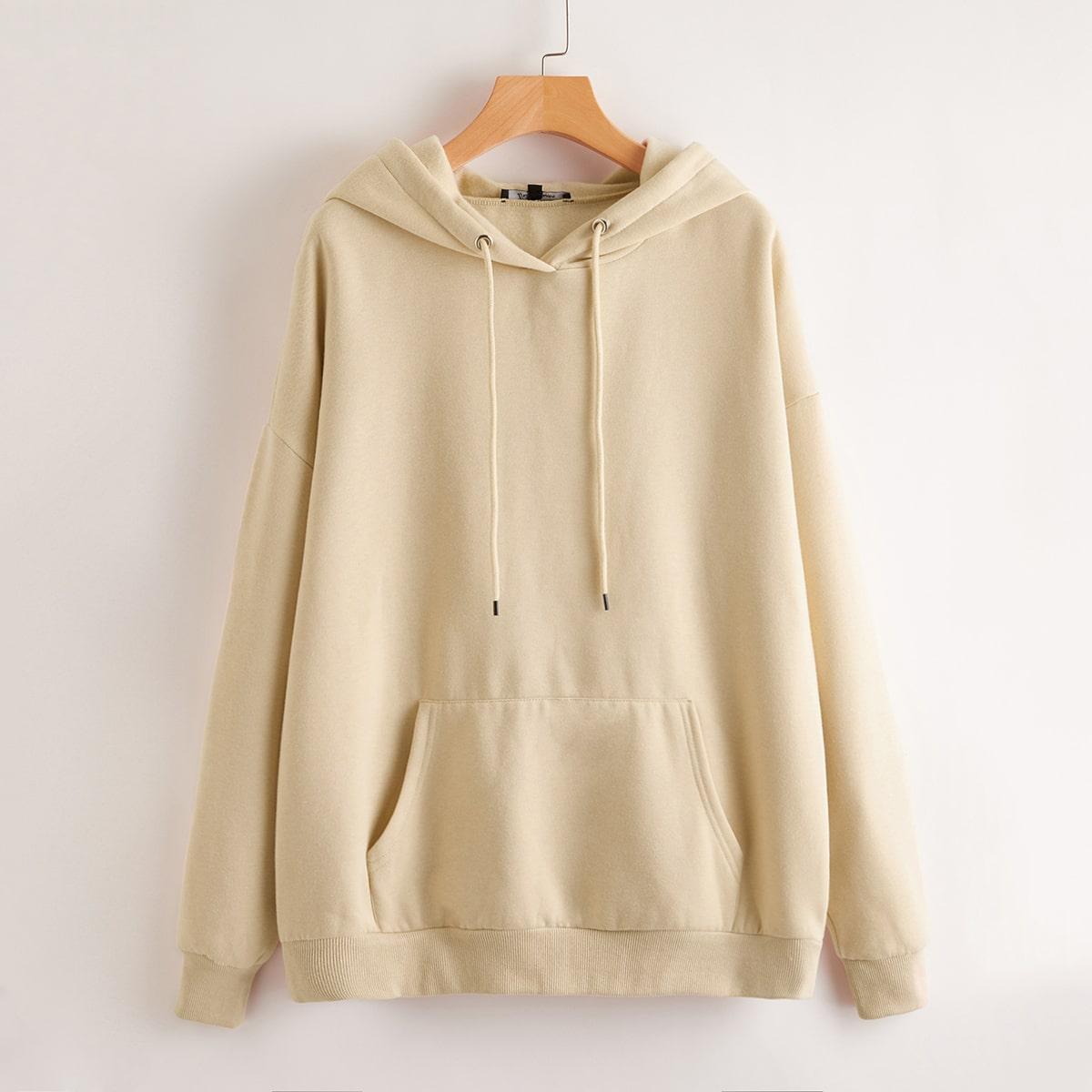 SHEIN / Oversized Kangaroo Pocket Drawstring Hoodie