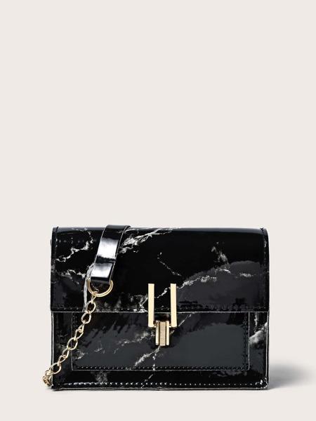 Marble Print Chain Crossbody Bag