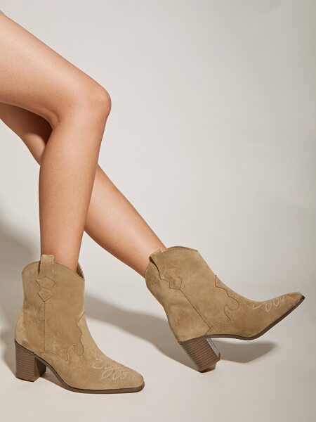 Stitch Detail Chunky Heeled Boots