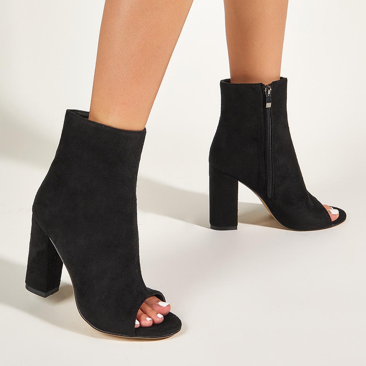 SHEIN / Minimalistische Stiefel mit Zehenfrei und klobiger Sohle
