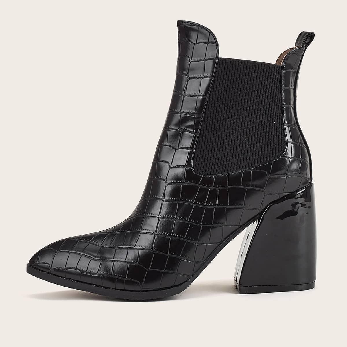 SHEIN / Chelsea Stiefel mit spitzer Zehenpartie und Krokodil Prägung
