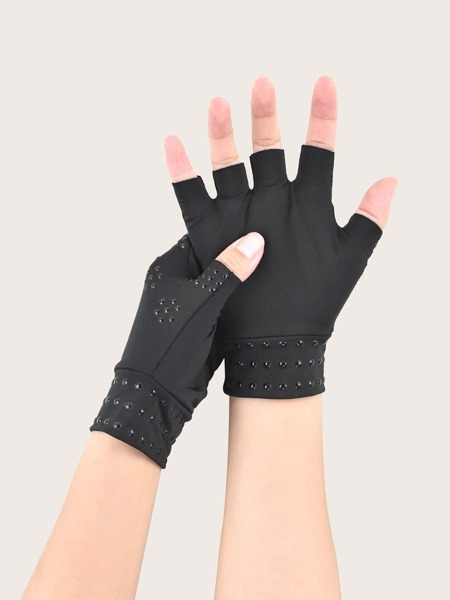 1pair Sports Protective Fingerless Gloves