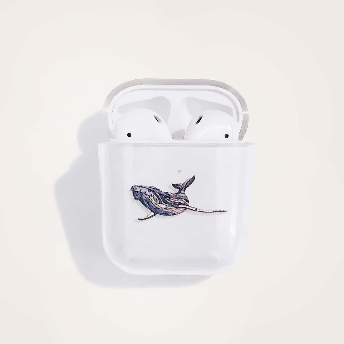 SHEIN / 1 Stück Transparente Airpods Hülle mit Wal Muster