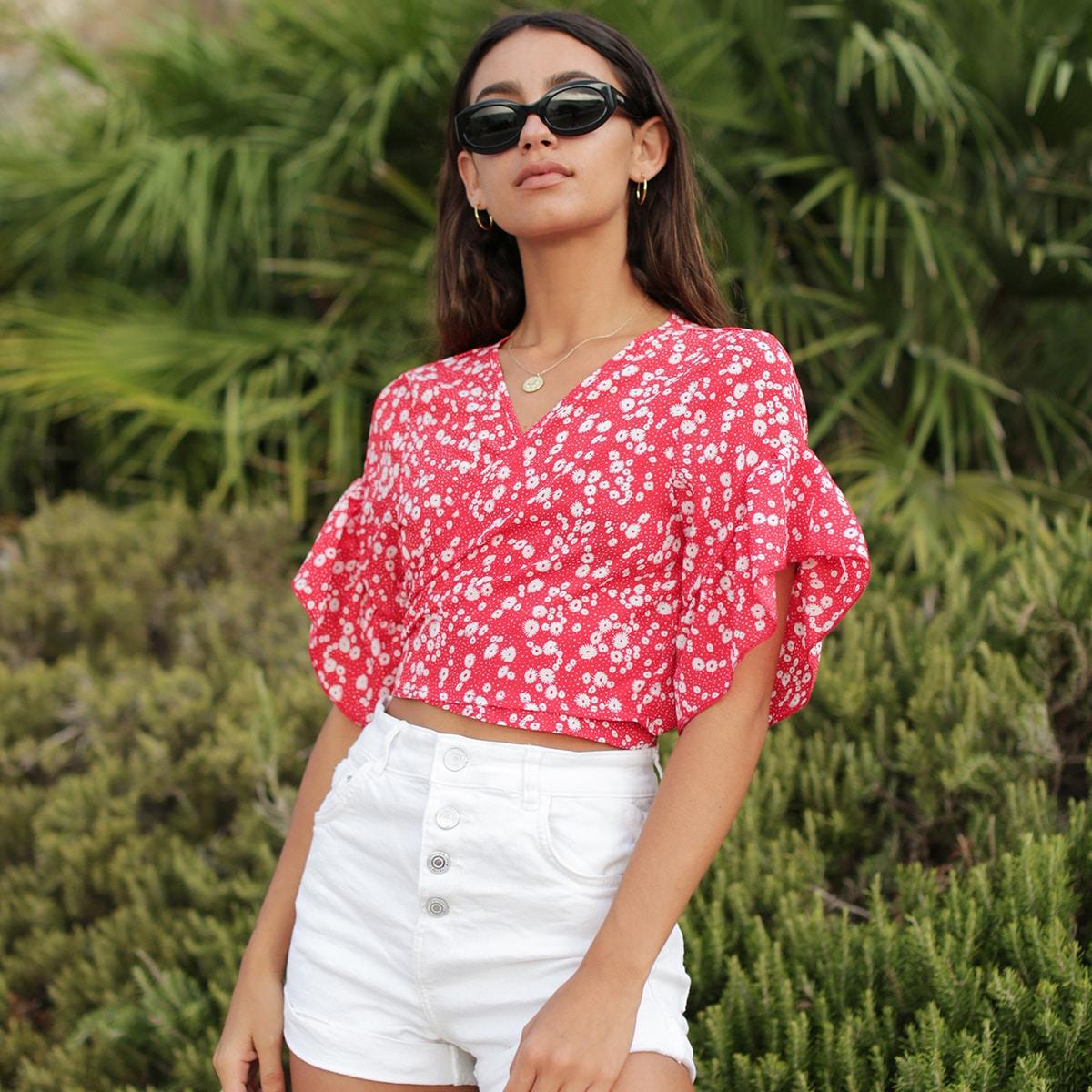 SHEIN / Bluse mit Band hinten, Gänseblümchen Muster und Wickel Design