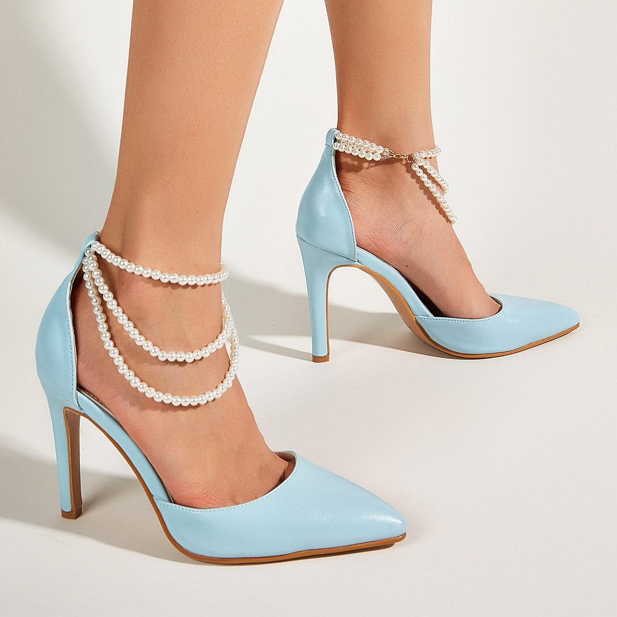 Остроконечные туфли на шпильках с искусственными жемчугами