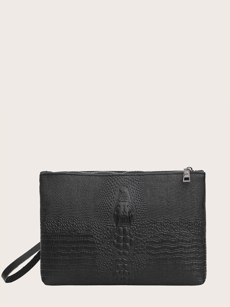 Croc Embossed Clutch Bag With Wristlet