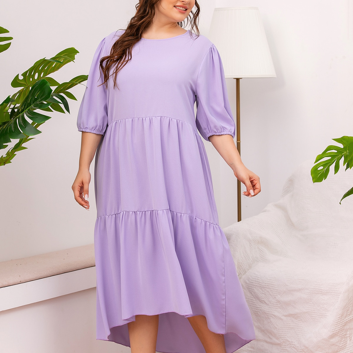SHEIN / Plus Solid Ruffle Hem High Low Dress