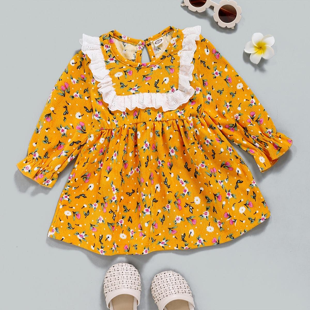 shein Boho Vrolijke Bloemetjes Baby-jurk Knoop