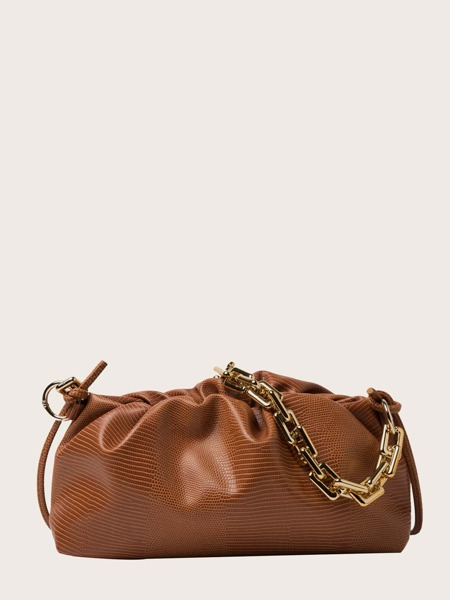 Lizard Embossed Ruched Bag