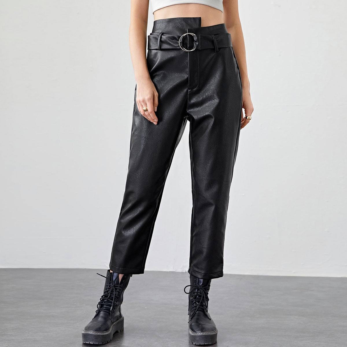 SHEIN / Pantalones cortos PU con cinturón con hebilla de cintura V