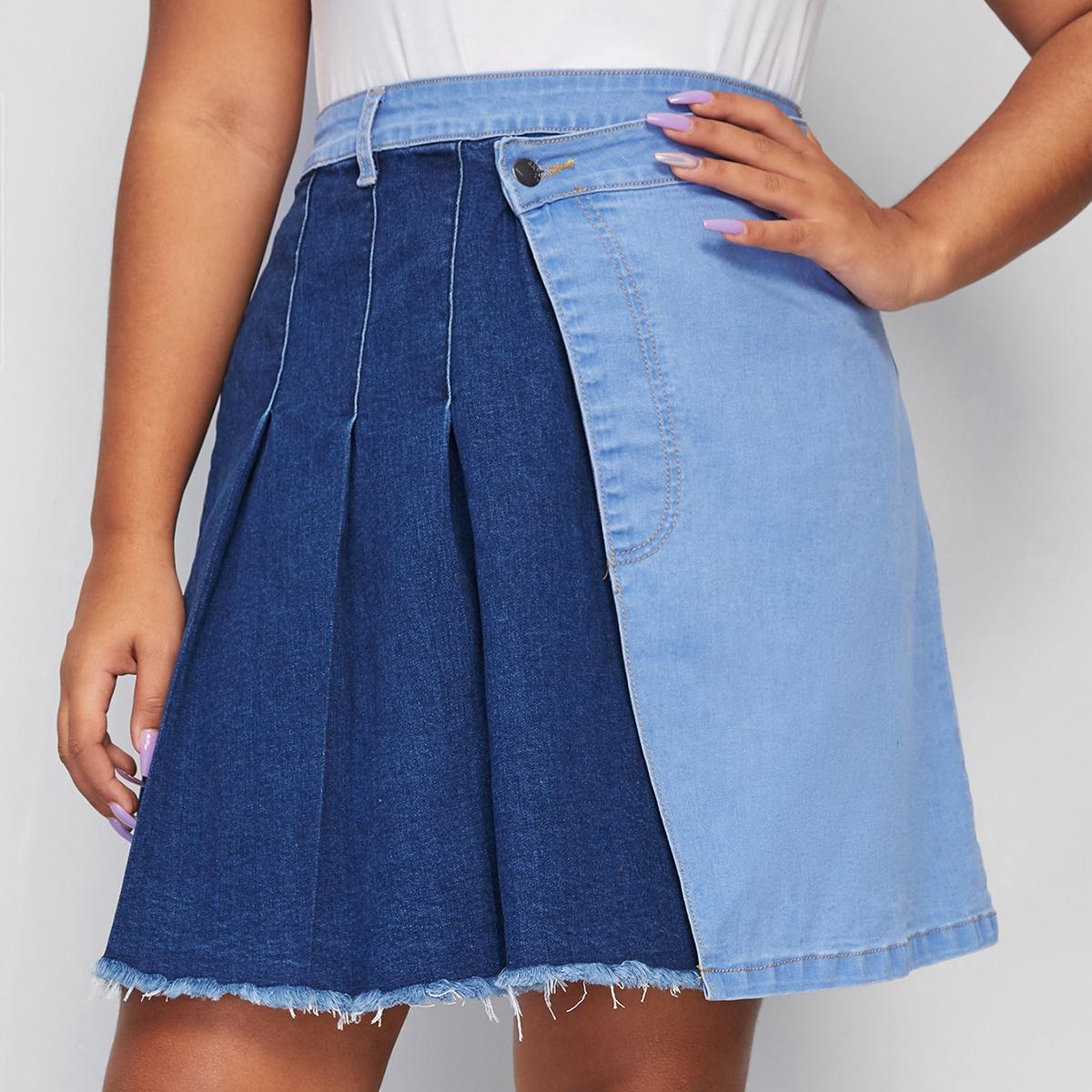 Контрастная джинсовая юбка размера плюс