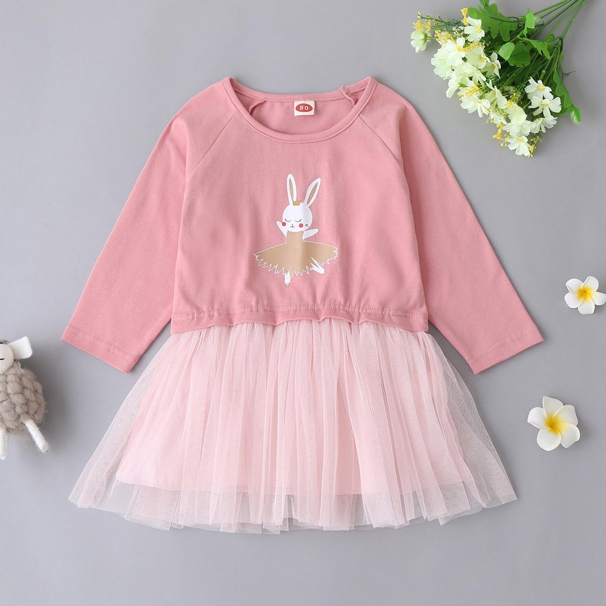 shein Casual Spotprent Baby-jurk Contrast doorschijnend