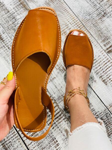 Faux Leather Peep-Toe Slingback Sandals