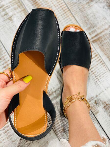 Faux Leather Peep-Toe Slingback Flats