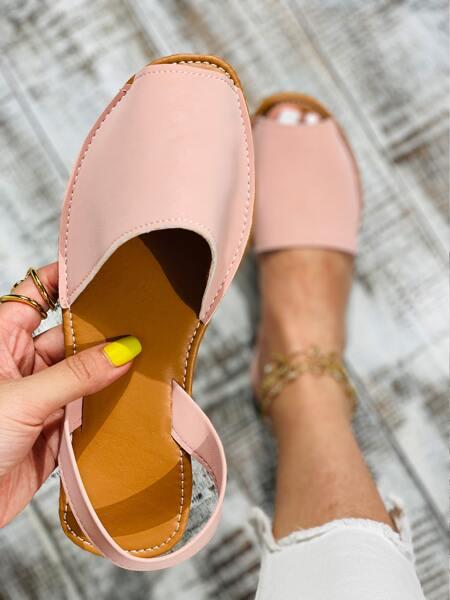 Pink Peep-Toe Slingback Sandals